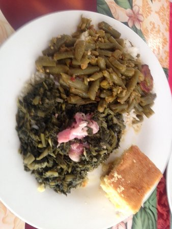 Kenner, LA: green beans and collar greens with corn bread