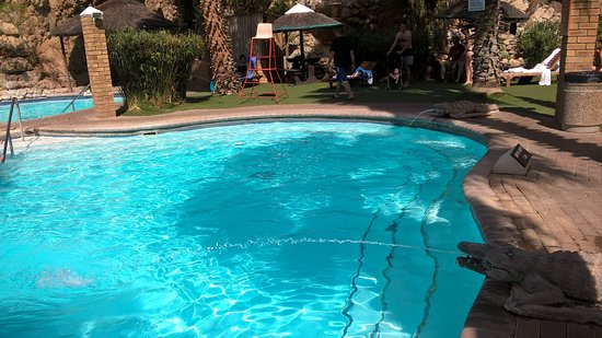 Avalon Springs: Croc fountain at the heated mineral pool