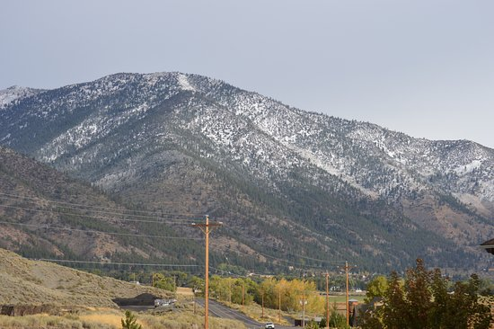 Genoa, NV: First snow of the season.