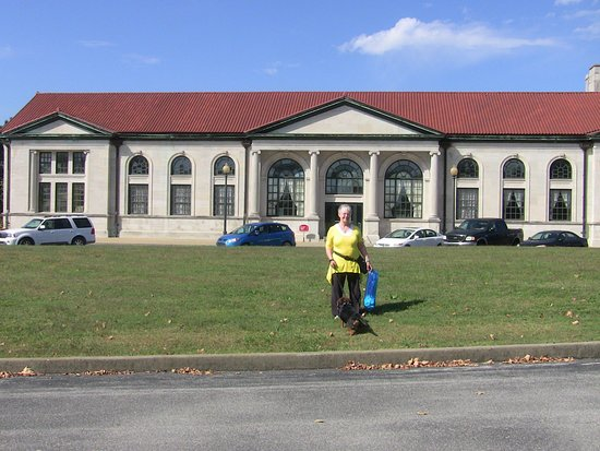 """Bowling Green, KY: L&N Depot """"White"""" Waiting room. My wife and dog are outstanding in the field!"""