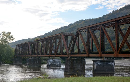 New River Gorge: Last Railroad Bridge over the Gauley. New River in the background