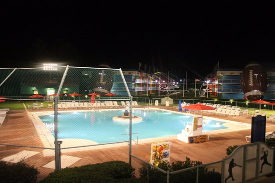 Baseball Diamond Swimming Pool had the hotel rooms lined all ...