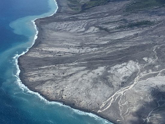 Caribbean Helicopters: ash flow from volcano