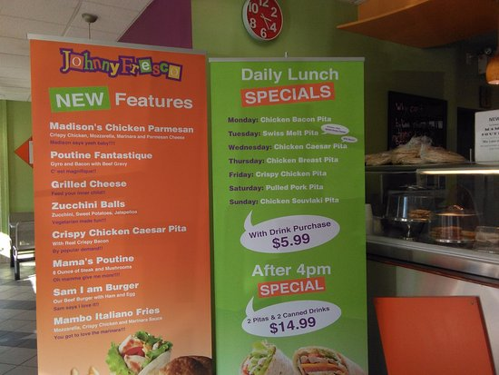 Johnny Fresco: Specials for each day of the week