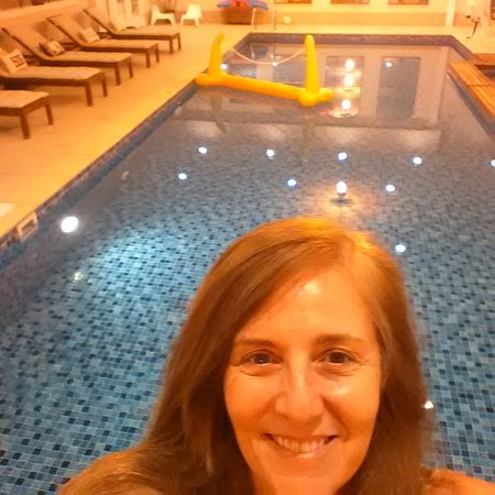 Woodstock, VT: Standing in front of the amazing indoor pool.