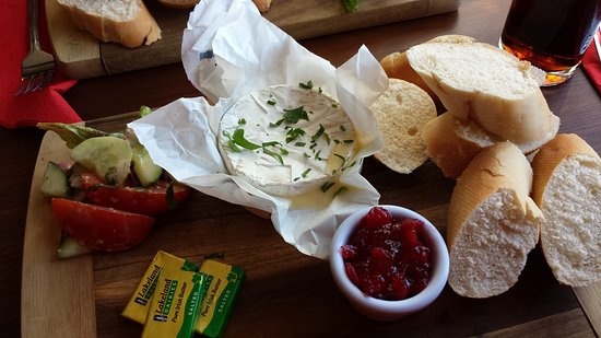 Horsted Keynes, UK: Baked Camembert Cheese with Cranberry Chutney.