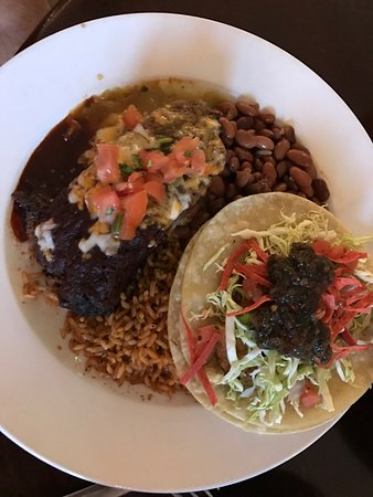 Blue Adobe Sante Fe Grille : Tamale, crab cake tacos and stacked enchilada