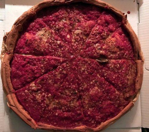 Lincolnwood, IL:  a large stuffed sausage & mushroom pizza