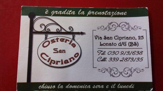 osteria san cipriano picture of osteria san cipriano lonato del