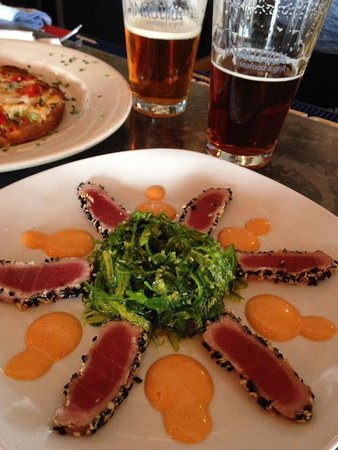 Belfast, ME: Perfectly seared ahi and seaweed salad...YUM!