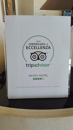 Savoy Hotel: Certificato di Eccellenza 2016
