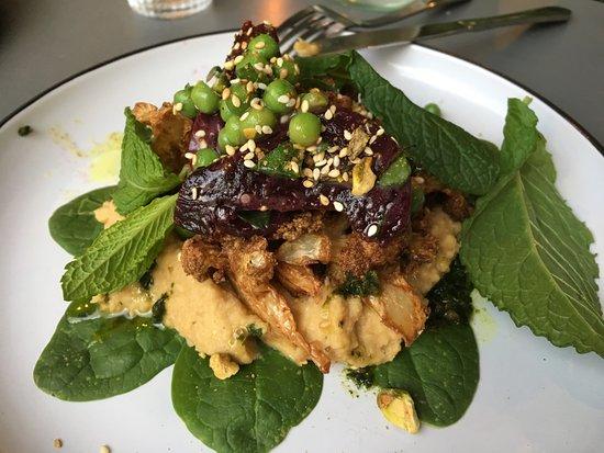 Bondi, Australia: Spiced crusted cauliflower, pistachio dukkah, chickpea puree, beets, minted peas