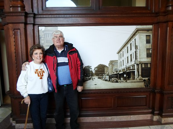 Mom and I in front of a picture of Camden in the 1900's