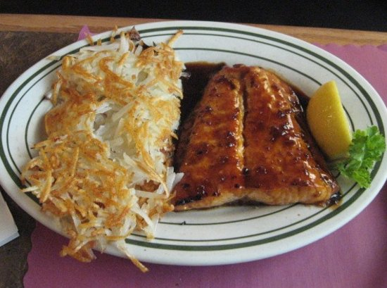 Sylvania, OH: Glazed Salmon Dinner with hash brown potatoes