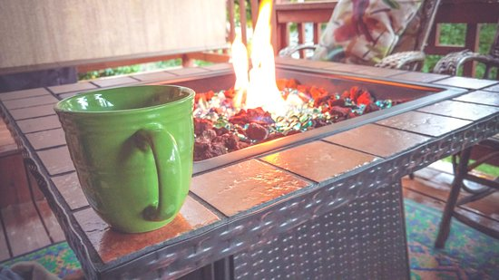 Finger Lakes, NY: Morning coffee by the fire