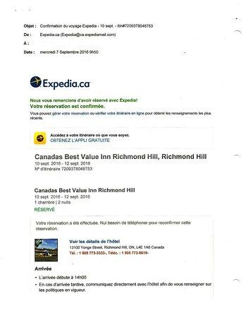 Richmond Hill, Canada : Réservation Expedia courriel