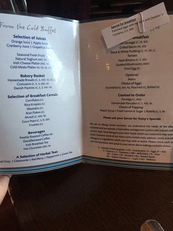 แบนทรี, ไอร์แลนด์: breakfast menu
