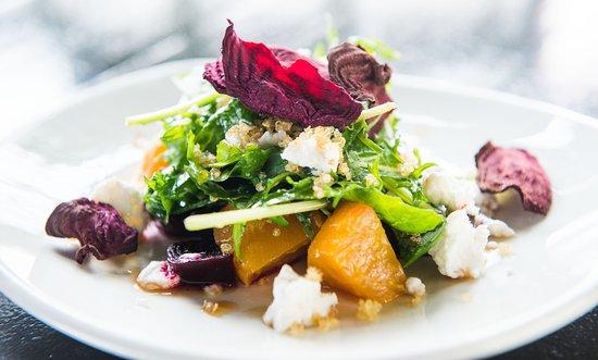 Meditrina: Roasted Beet Salad, arugula, local chevre, sherry gastrique