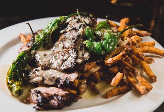 Meditrina: Wagyu Steak Frites with roasted garlic beurre blanc
