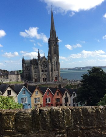 Cobh Cathedral and neighboring homes