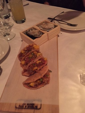 "Cape May Point, NJ: tuna ""tacos"" and oysters"