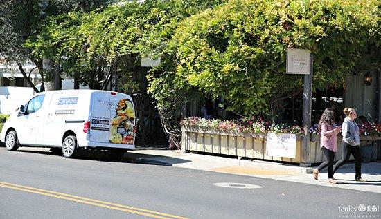 Los Olivos, Californien: Exterior with wisteria covered patio.
