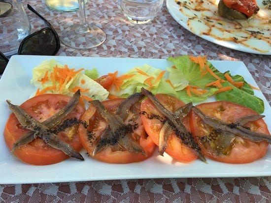Macanet de Cabrenys, İspanya: Tomates avec anchois de l'Escala