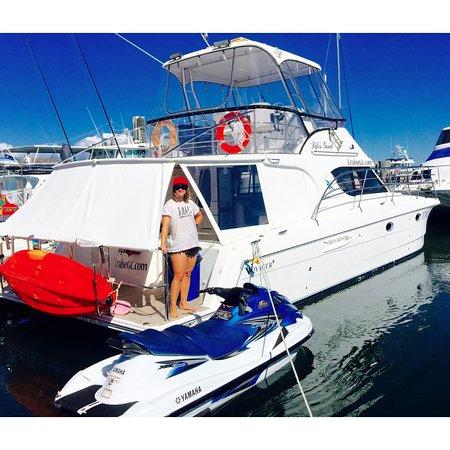"""โกลด์โคสต์, ออสเตรเลีย: """"Life's Good"""" with Jetski moored at Marina Mirage"""