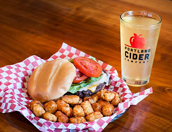 Clackamas County, OR: Classic burger with Kinda Dry cider