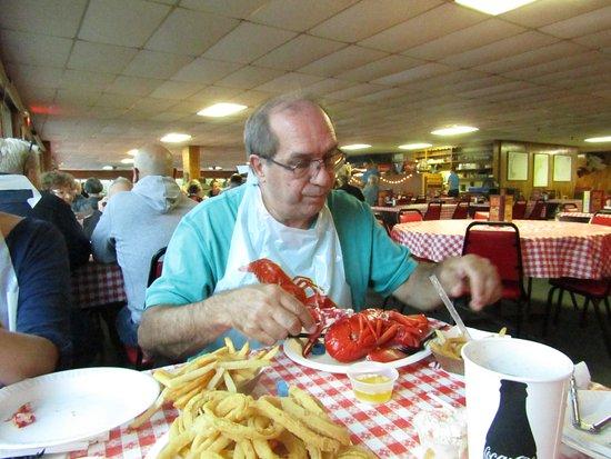 Dover, NH: My husband tackling the lobstah