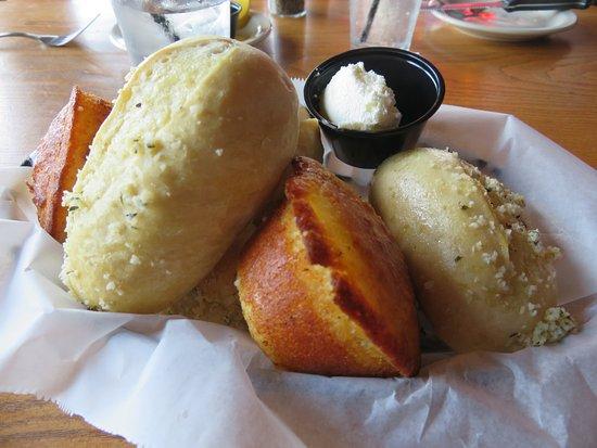 Lenoir City, TN: Basket of Corn Bread and Garlic Rolls