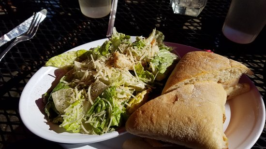 Bistro on Main: Turkey, Apple, Brie sandwich, Caesar side salad
