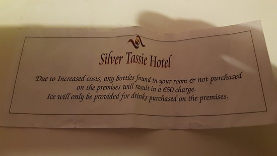 Silver Tassie Hotel & Spa: Received this with the room key. Bit over the top.