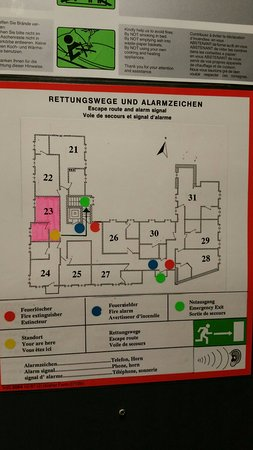Breuer's Ruedesheimer Schloss: Diagram on back of door shows location of rooms on 2nd floor