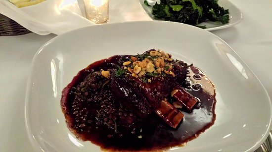 Artistry on the Green: Slow-cooked Bison Shortrib w/ lentils in wine reduction