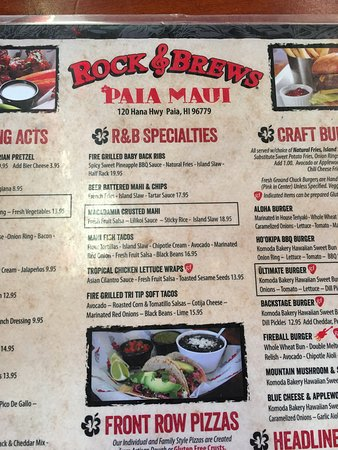 rock and brews paia glimpse of the menu
