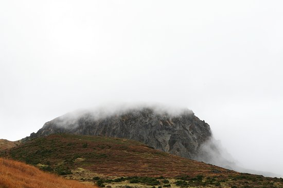 Hallasan National Park: 구름이 살짝 걷혀 백록담이 보이네요