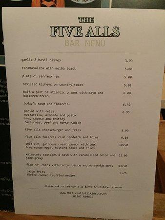 The Five Alls: menu
