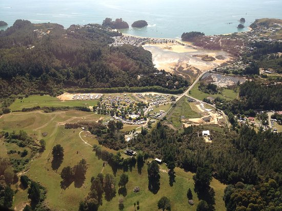 An aerial view of Bethany Park,  a short walk to the world famous Kaiteriteri beach.