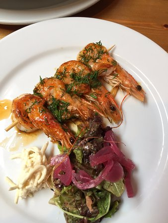 Out of the Blue Seafood: Grilled gambas (prawn) kebab