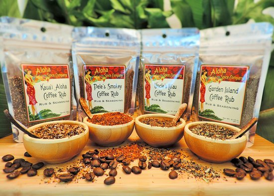 Hanapepe, Hawái: Coffee Rubs, made with Kauai Coffee and available in 4 varieties. Come sample them all