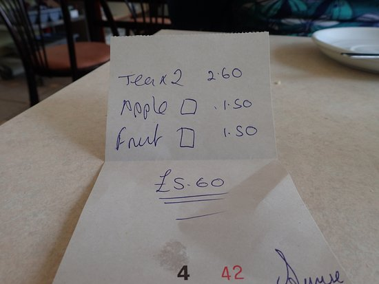 Isle of Bute, UK: Till Receipt