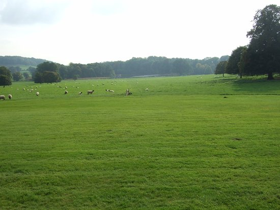 Hereford, UK: View of 'Capabilty' Brown's final landscape, down to the lake, from the front of the Hall