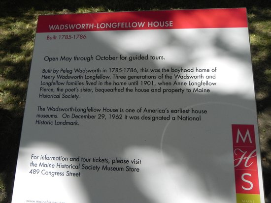 Wadsworth-Longfellow House: sign