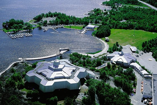 An aerial view of Science North and the Sudbury Yacht Club located on the shores of Ramsey Lake.