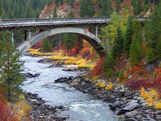 Cascade, ID: In Fall, on your way to Water's Edge on Rainbow Bridge