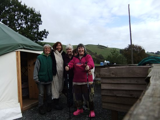 Carno, UK: Here we are outside our yurt after a wonderful night.
