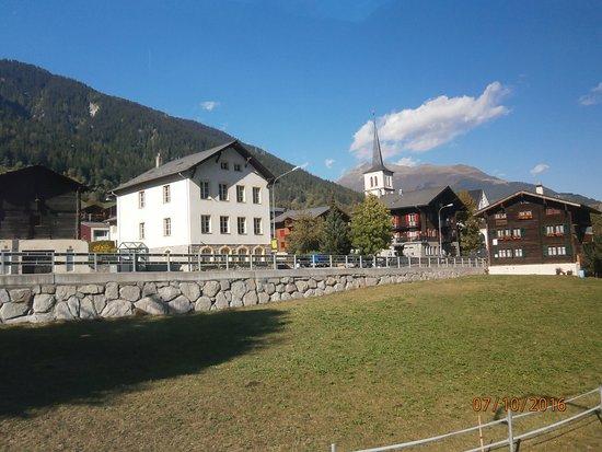Glacier Express: Local church and Alpone village