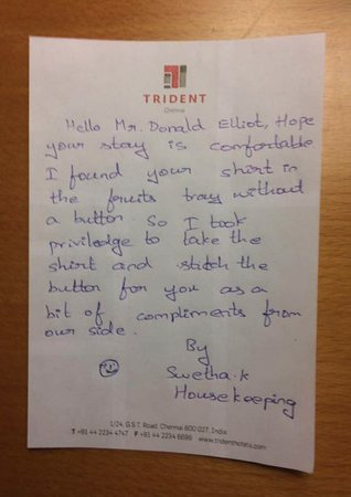 Note from housekeeping - Picture of Trident, Chennai, Chennai