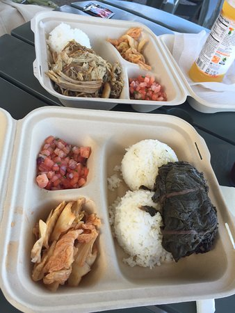 Pepeekeo, HI: lunch is served: lau lau plate on the bottom